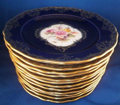 12 Antique Meissen Porcelain Cobalt Blue Gold & Floral Plate s Porzellan Teller