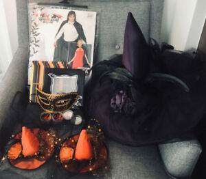 BRAND NEW ASSORTED HALLOWEEN ITEMS HATS COSTUMES TREAT BOXES ETC