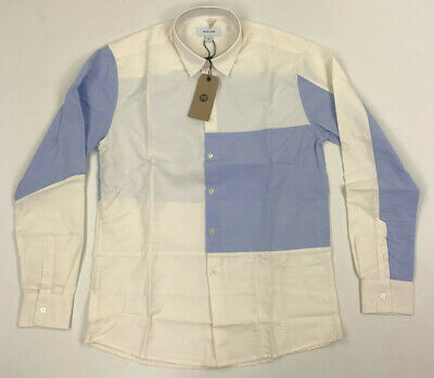 Soulland Mens Button Shirt Colorblock Blue Off White Small