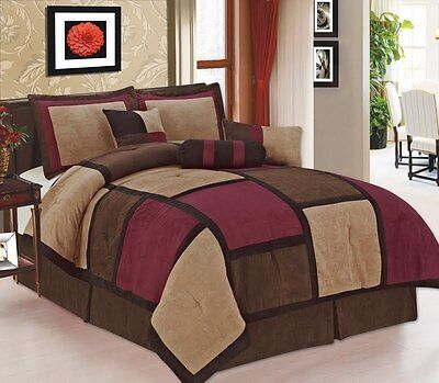 7 Pc Burgundy Brown & Beige Micro Suede Patchwork King Size Comforter Set