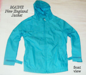 MAINE New England Jacket hooded, all polyester, turquoise