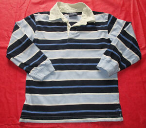 Boys blue striped collared shirt size 7 *barely worn