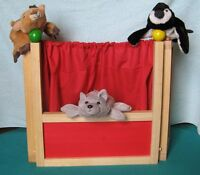 Kids Wooden TableTop Theatre and 3 puppets