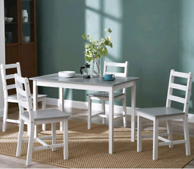 Dining Table and 4 Chairs Set Solid Pine Wooden Home Kitchen Furniture