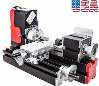 12v Mini Miniature Metal Multifunction Lathe Machine Diy 20000revmin 45135mm