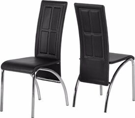 **Black Leather set of 6 Chairs**