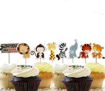 24PC Cupcake Topper Decor Sweet Party Birthday Supply Cake Animal Picks CAA