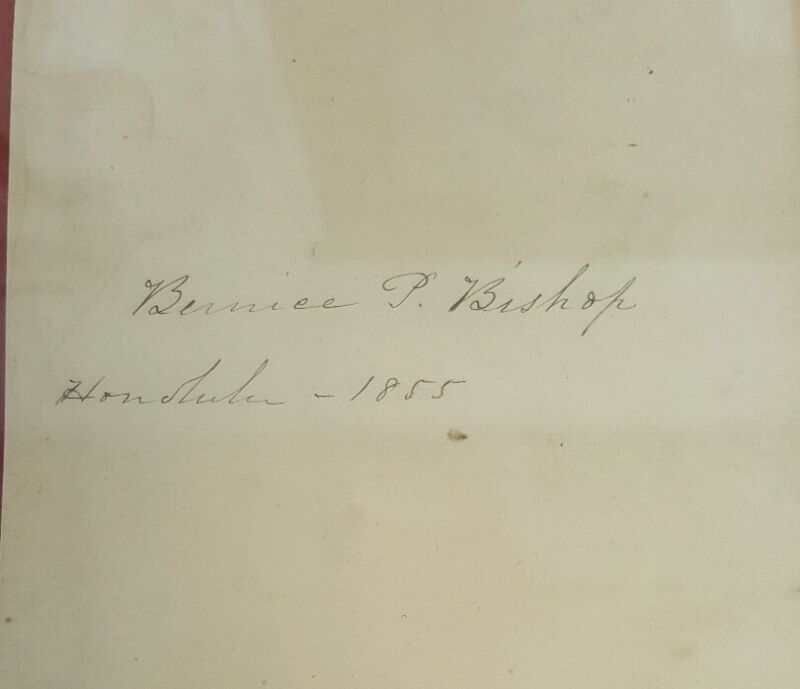 Honolulu 1855 Bernice Pauahi Bishop Autograph VERY RARE Framed