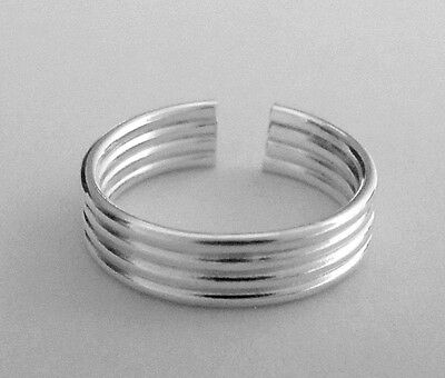 Sterling Silver thin 4 wire dainty plain band size small toe ring