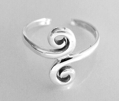 Sterling Silver Swirls narrow band size small - medium adjustable toe ring