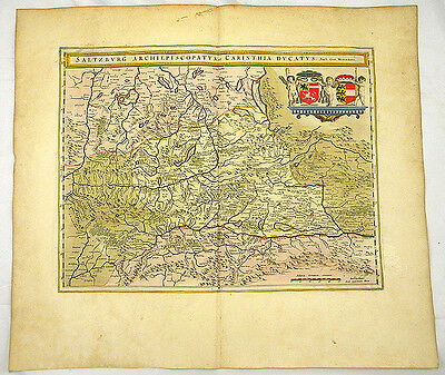 SALZBURG KÄRNTEN ÖSTERREICH ALTKOL KUPFERSTICH KARTE GOLD BLAEU 1662 #D936S