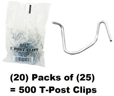 Mat 901169b 25 Packs T-post Fence Post Clip Fasteners Quantity 20 Packages