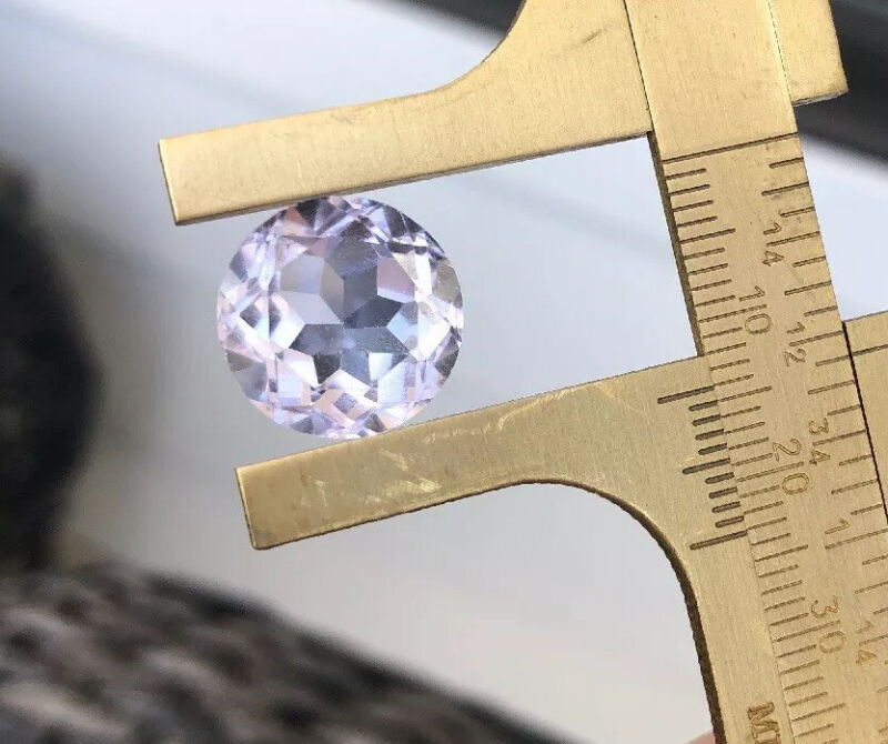 Pink Kunzite Gemstone Round Multi Cut Faceted Round Stone 14mm Clear Pale Pink