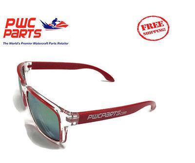 PWC Parts Co. Sunglasses Red Clear Jet Ski Logo SeaDoo Yamaha Kawasaki UV (Sunglass Company Logos)