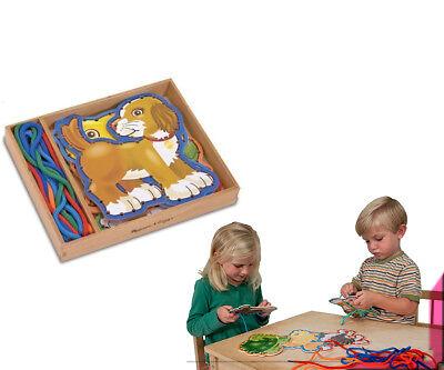 Melissa & Doug Fädel Spiel Holzkiste mit Schnürtieren Haustiere Holz Spielzeug
