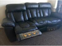 Brand new 2 sofa suite arm rest chairs recliners real leather black from new