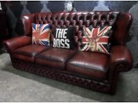 Stunning Chesterfield 3 Seater Monk Back Sofa in Oxblood Red Leather - UK Delivery
