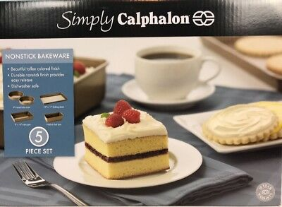 Simply Calphalon 5-Piece Non-stick Bakeware Set Round Cake Baking Sheet Loaf