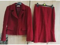 Size 12 deep red Wallis jacket & skirt suit