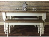 5FT SOLID PINE FARMHOUSE TABLE TWO 4FT BENCHES CAN DELIVER