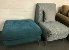 Blue fabric accent armchair and large Footstool