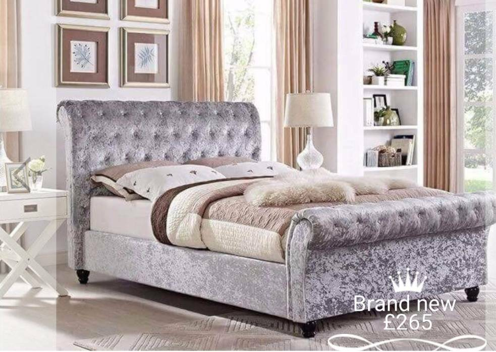 Half price brqnd new chester field sleigh beds free delivery
