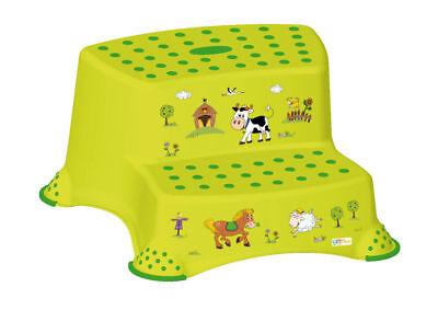 Kinder Tritthocker zweistufig Funny Farm, grün Hocker Trittschemel Schemel