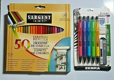 New Zebra Mechanical Pencils Sargent 50 Colored Pencils Back To School Special