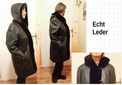 Mantel 42 mit Kapuze Leder Nappa weiches Fell Pelz Damen schwarz Jacke ()