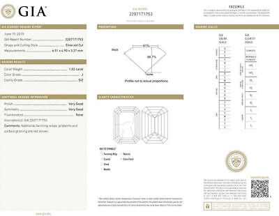 1.02 carat GIA cert Emerald cut Diamond Solitaire Engagement 14k Gold Ring J SI2 1