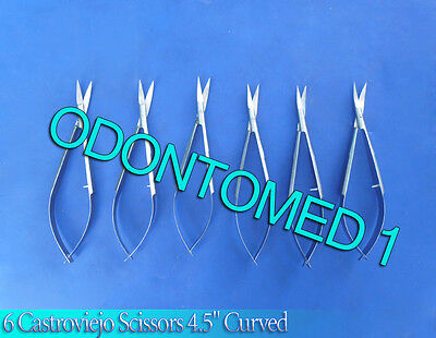 6 Castroviejo Scissors Ophthalmic Surgical Instruments Curved 4.5