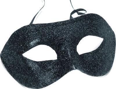 Schwarz Glitzer Augenmaske Mardi Gras Erwachsene Kostüm (Herren Mardi Gras Maske)