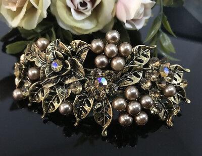 Hot beautiful Gold tone elegant barrette pearl crystal hair clip 1212