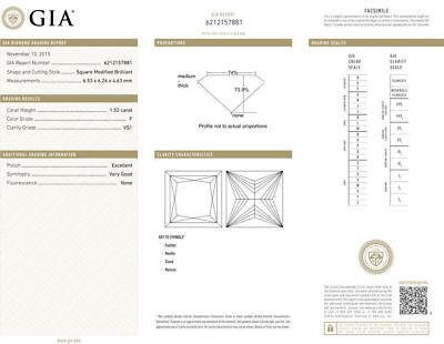 1.52 carat center Princess cut Diamond GIA F color VS1 14k Gold Engagement Ring 2