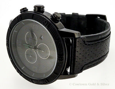 CITIZEN MENS WATCH BLACK CHRONO DIAL BLACK LEATHER BAND AT2205-01E