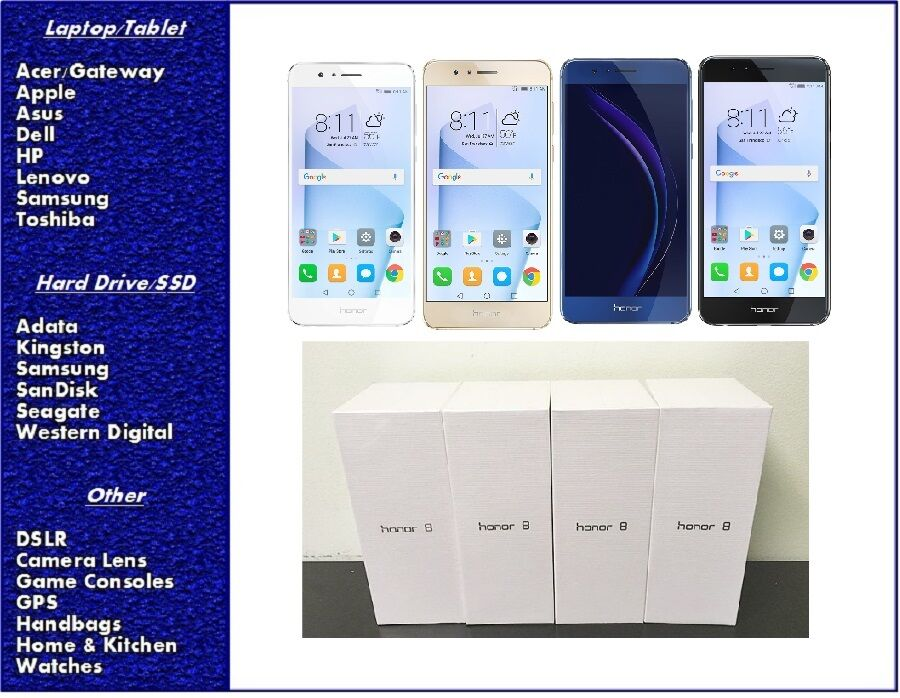 $349.00 - NEW Huawei Honor 8 GSM Factory Unlocked Smartphone 32GB or 64GB, SEALED