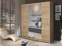 CASH ON DELIVERY BRAND NEW BEAUTIFUL GENEVA OAK 2 DOOR SLIDING WARDROBE WITH MIRROR FAST DELIVERY
