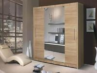 BRAND NEW GENEVA OAK 2 DOOR SLIDING WARDROBE WITH MIRROR