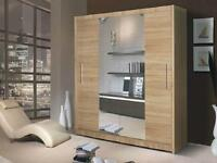 **7-DAY MONEY BACK GUARANTEE!**- Geneva Sliding Door German Designed Wardrobe- SAME/NEXT DELIVERY!