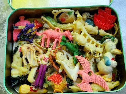 Big Lot Quality Vtg Cracker Jack Celluloid Charms Japan Animals People Disney