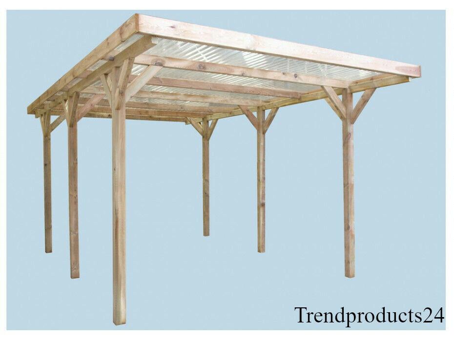 Holz Carport Einzelcarport Garage Flachdach inkl Dacheindeckung 300cmx502 Set