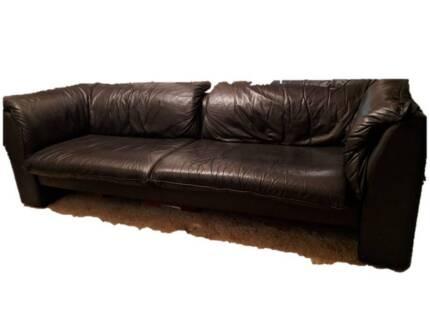 Black Plush Genuine Leather Sofa