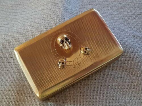 ANTIQUE 1865 Georgian Austria GOLD PLATED silver MEMENTO MORI SKULLS snuff BOX