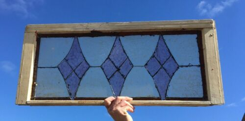 Vtg Diamond Art Glass Transom Window Sash 14x32 Shabby Cottage Chic Old 162-20E