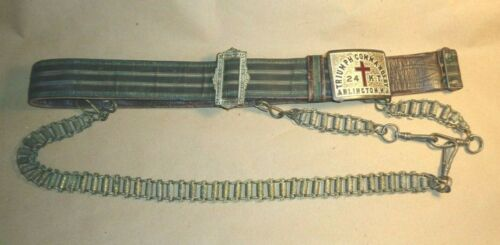 ANTIQUE, circa 1890, KNIGHTS TEMPLAR, SWORD BELT WITH BUCKLE & HANGERS, MASONIC