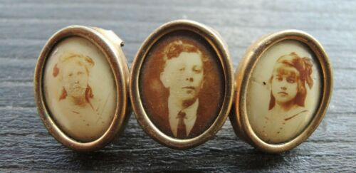 Antique Victorian 3 Frame Gilded Brass Mourning Photo Brooch Pin