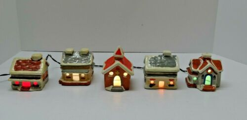 """(5) Vintage Taiwan CERAMIC Putz Style VILLAGE HOUSES Light-Up String Holiday ~3"""""""