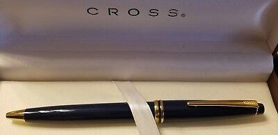 Cross Radiance USA MADE BALLPOINT Pen NAVY BLUE 23K Gold Trim