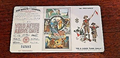 Antique Vintage BSA Boy Scouts Membership Trifold Card 1932 used