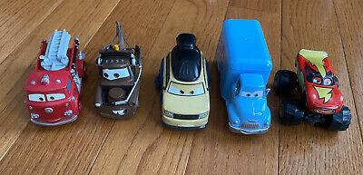 Disney Pixar Cars Lot Of 5 Die Cast & Plastic Nasca Mater Red Monster Truck